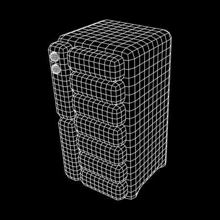 Hardware equipment telecommunication server. Data center storage room object. Computer database tower. Internet industry cluster. Wireframe low poly mesh vector illustration Stock Illustratie
