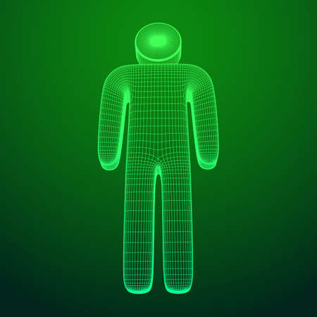 Stylized wire symbol man. Wireframe low poly mesh vector illustration