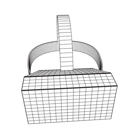 VR Glasses virtual reality helmet headset. Wireframe low poly mesh vector illustration