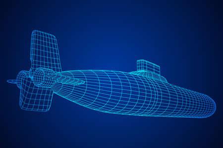 Barco submarino submarino atómico militar. Ilustración de vector de malla de poli baja estructura metálica