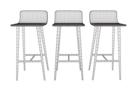Barkruk meubels draadframe blauwdruk. Lineaire omtrek vectorillustratie. Hoge stoel. Bar interieur ontwerp. Vector Illustratie