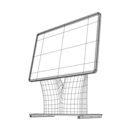 LCD-Bildschirmständer. Messestand. TV Info Kiosk Drahtgitter Low Poly Mesh Vektor-Illustration