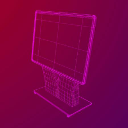 Soporte de pantalla LCD. Stand de feria. Ilustración de vector de malla de baja poli de estructura metálica de quiosco de información de televisión Ilustración de vector