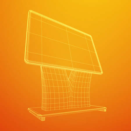 LCD Screen Stand. Trade Show Booth. Tv info kiosk wireframe low poly mesh vector illustration Ilustración de vector
