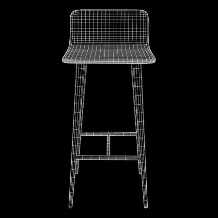 Barkruk meubels draadframe blauwdruk. Lineaire omtrek vectorillustratie. Hoge stoel. Bar interieur ontwerp.