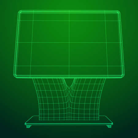 LCD Screen Stand. Trade Show Booth. Tv info kiosk wireframe low poly mesh vector illustration