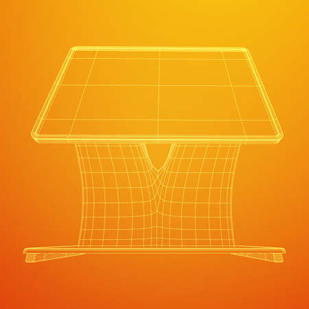 Soporte de pantalla LCD. Stand de feria. Ilustración de vector de malla de baja poli de estructura metálica de quiosco de información de televisión