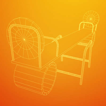 Swing on the playground vector. Seesaw or wooden balance scale. Wireframe low poly mesh vector illustration