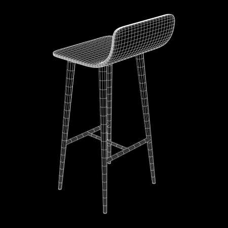 Bar stool furniture wireframe blueprint. Linear outline vector illustration. High chair. Bar interior design.