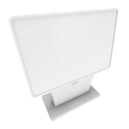 LCD Screen Stand. Trade Show Booth. 3d render of tv info kiosk isolated on white background. High Resolution. Ad template for your expo design. Foto de archivo