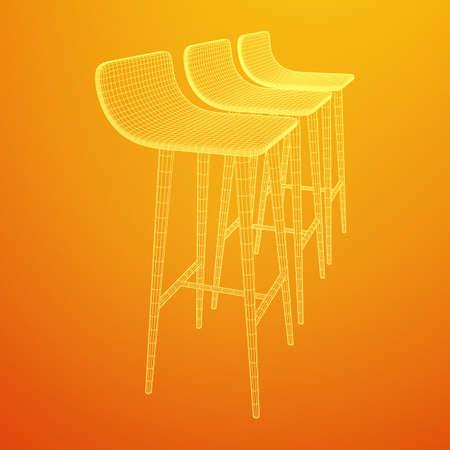 Bar stool furniture wireframe blueprint. Linear outline vector illustration. High chair. Bar interior design.