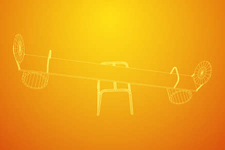 Swing on the playground vector. Seesaw or wooden balance scale. Wireframe low poly mesh vector illustration Stock Vector - 111578573