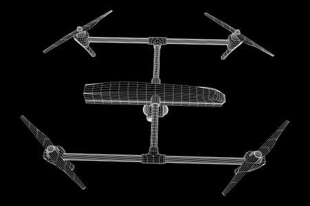 Remote control air drone. Dron flying with action video camera. Wireframe low poly mesh vector illustration
