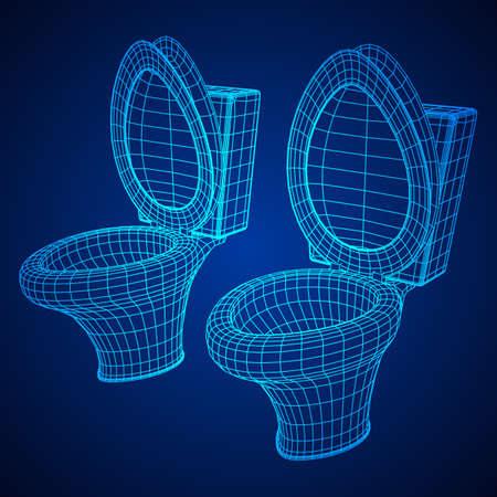 Toilettenschüssel Drahtgitter niedrige Poly Mesh Vektor-Illustration