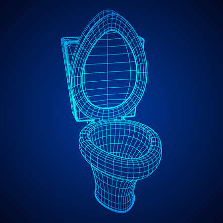 Toilet bowl wireframe low poly mesh vector illustration