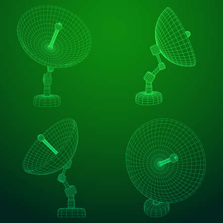 Directional radio antenna with satellite dish. Astronomy radio telescope . Wireframe low poly mesh vector illustration Vecteurs
