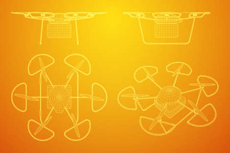 Remote control air drone. Dron flying with cargo box. Wireframe low poly mesh vector illustration
