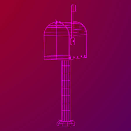 Correspondence mailbox with post letter message. Wireframe low poly mesh vector illustration