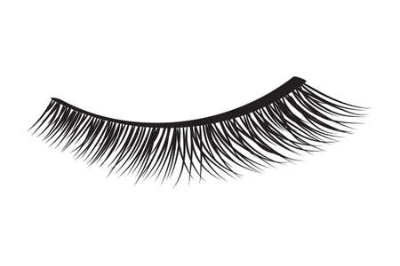 Black false eyelashes. Mascara decorative element vector illustration Çizim