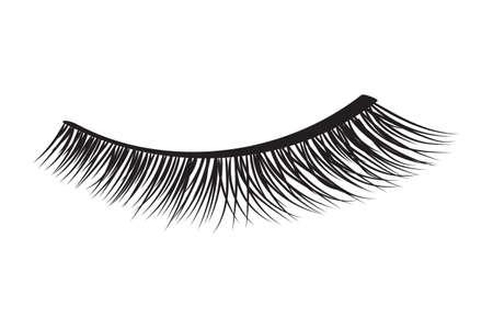 Faux cils noirs. Illustration vectorielle de mascara élément décoratif Vecteurs