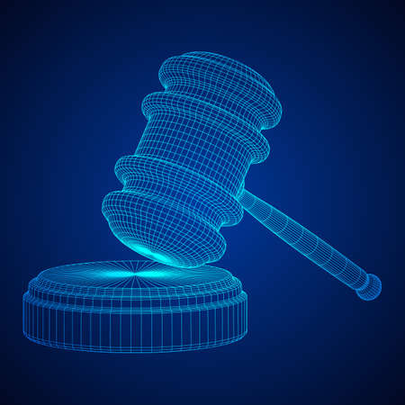 Gavel, hammer of judge or auctioneer. Wireframe low poly mesh vector illustration