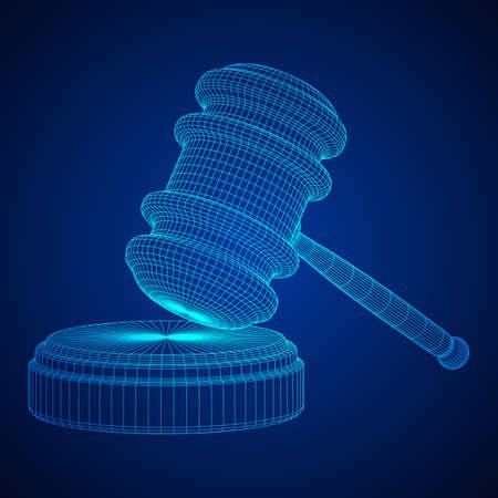 Marteau, marteau de juge ou commissaire-priseur. Illustration vectorielle de filaire low poly mesh Vecteurs