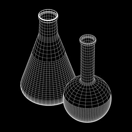 Test tube low poly wireframe mesh. Science and analyses. Vector abstract polygonal image line and point. Illustration
