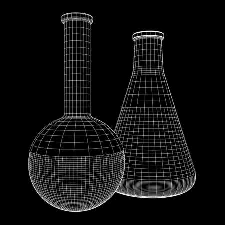 Test tube low poly wireframe mesh. Science and analyses. Vector abstract polygonal image line and point. 向量圖像