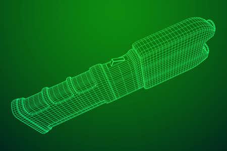 Police electro shocker taser stun gun. Wireframe low poly mesh vector illustration Ilustração Vetorial