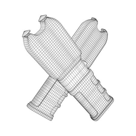 Police electro shocker taser stun gun. Wireframe low poly mesh vector illustration