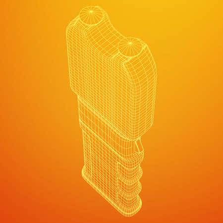 Police electro shocker taser stun gun. Wireframe low poly mesh vector illustration