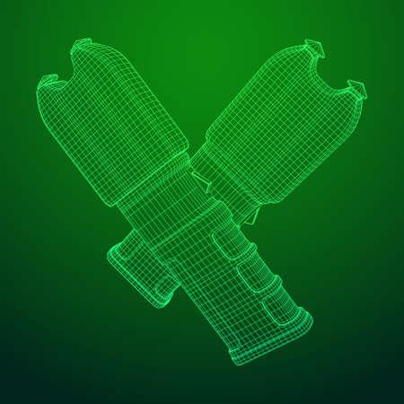 Police electro shocker taser stun gun. Wireframe low poly mesh vector illustration Vector Illustration