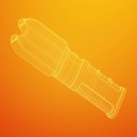 Police electro shocker taser stun gun. Wireframe low poly mesh vector illustration Ilustración de vector