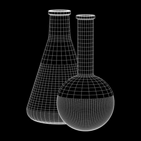 Test tube low poly wireframe mesh. Science and analyses. Vector abstract polygonal image line and point. Stock Illustratie