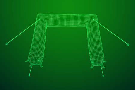 Inflat entrance arch for decorating entrance of the event, party or sport, work with path. Wireframe low poly mesh vector illustration