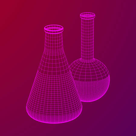 Test tube low poly wireframe mesh. Science and analyses. Vector abstract polygonal image line and point. 일러스트