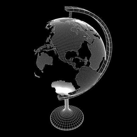 Concept d'école Globus. Illustration vectorielle filaire low poly mesh Vecteurs