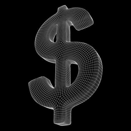 Dollar sign. Wireframe low poly mesh vector illustration. Money, rich, business concept