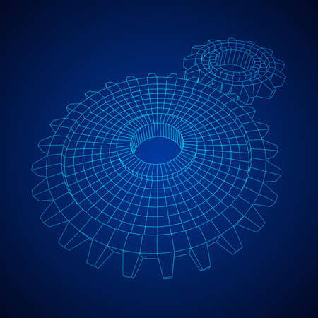 Gears. Mechanical technology machine engineering symbol. Industry development, engine work, business solution concept. Wireframe low poly mesh vector illustration Vettoriali
