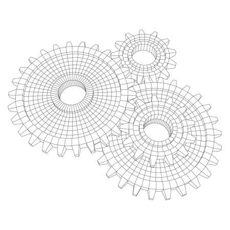 Gears. Mechanical technology machine engineering symbol. Industry development, engine work, business solution concept. Wireframe low poly mesh vector illustration Imagens