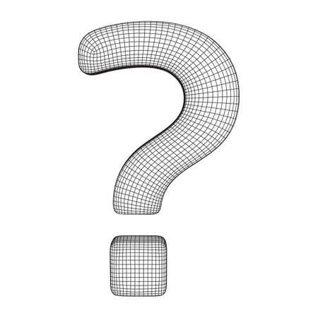 Fragezeichen abstrakte Modelllinie und Komposition digital gezeichnet. Wireframe Low-Poly-Mesh-Vektor-Illustration