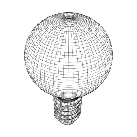 Lamp bulb consisting of lines and polygons. Business idea. Wireframe low poly mesh vector illustration Vettoriali