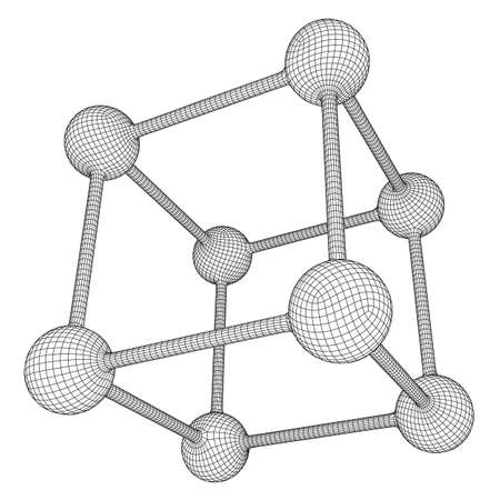 Wireframe Mesh Molecule Grid. Connection Structure. Low poly vector illustration. Science and medical healthcare concept Ilustração
