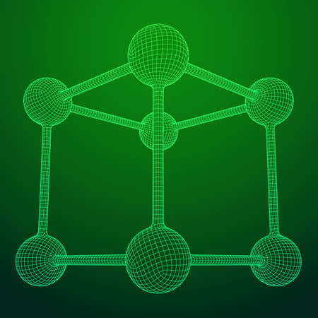 Wireframe Mesh Molecule Grid. Connection Structure. Low poly vector illustration. Science and medical healthcare concept Standard-Bild - 114088683
