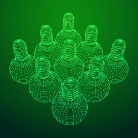 Lamp bulb consisting of lines and polygons. Business idea. Wireframe low poly mesh vector illustration 向量圖像
