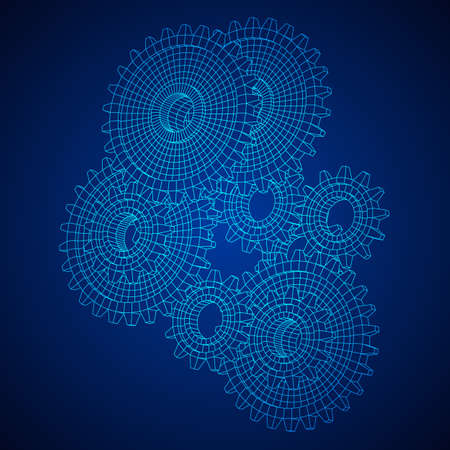 Gears. Mechanical technology machine engineering symbol. Industry development, engine work, business solution concept. Wireframe low poly mesh vector illustration