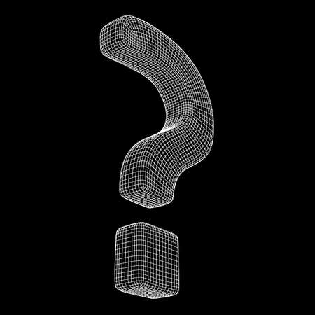 Question mark abstract model line and composition digitally drawn. Wireframe low poly mesh vector illustration