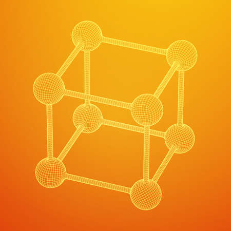 Wireframe Mesh Molecule Grid. Connection Structure. Low poly vector illustration. Science and medical healthcare concept Standard-Bild - 114457573