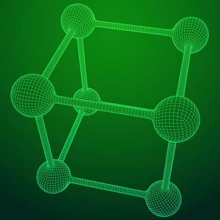Wireframe Mesh Molecule Grid. Connection Structure. Low poly vector illustration. Science and medical healthcare concept