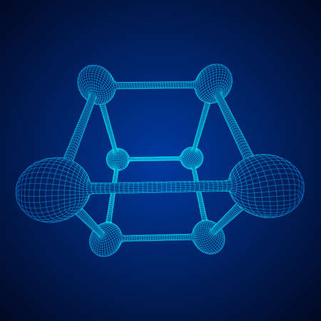 Wireframe Mesh Molecule Grid. Connection Structure. Low poly vector illustration. Science and medical healthcare concept 向量圖像